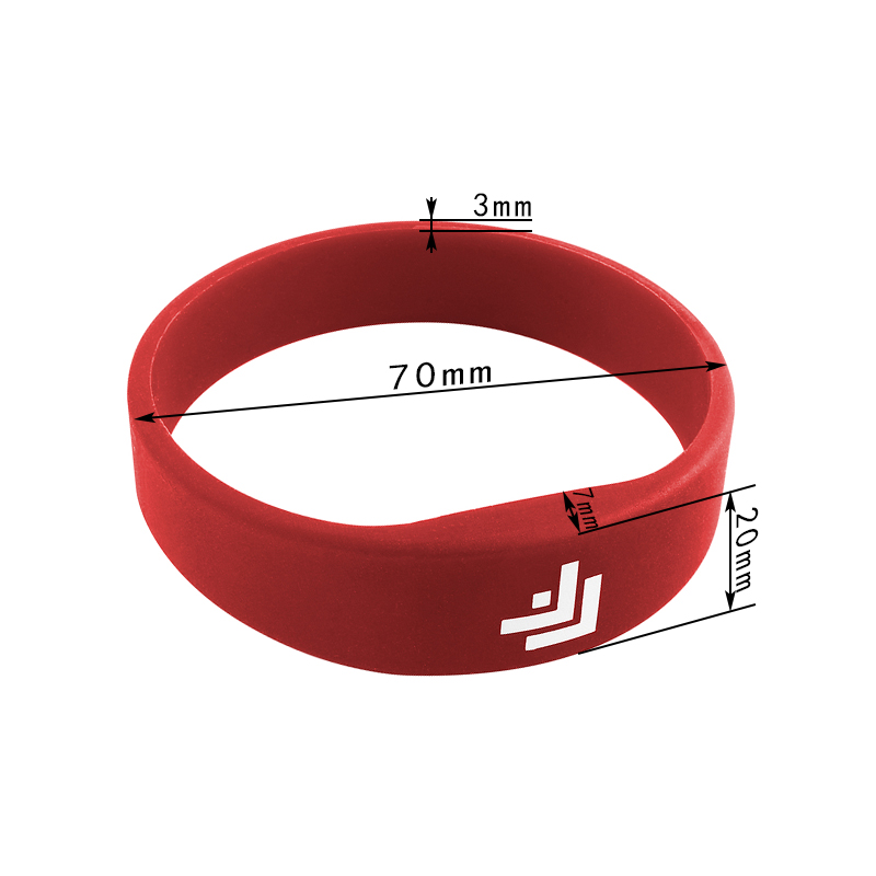 GJ02 RFID 20mm Waterproof Silicone Wristband Oblate Bracelets