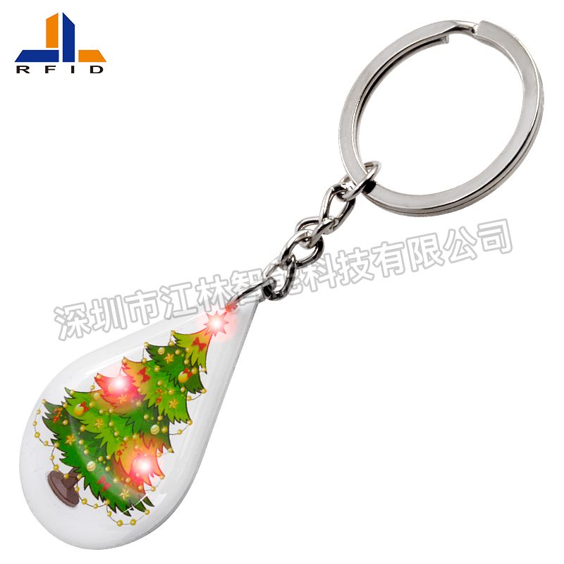 DJ10 RFID Epoxy Key fob with LED light NFC key chain key holder